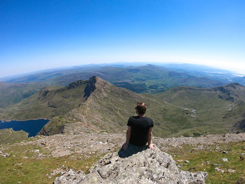 Views from the peak of Mount Snowdon, Wales, UK