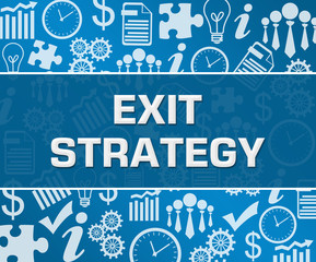 Exit Strategy Business Symbols Texture Blue Background Square