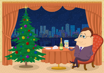 Respectable Gentleman Sitting Near Table and Celebrating Christmas in Restaurant with Firtree and View on Night City, Holiday Cartoon Character. Eps10, Contains Transparencies. Vector