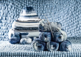 still life of knitted clothes newborn