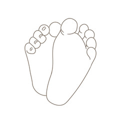 Newborn baby foot soles, barefoot, bottom view. Tiny plump feet with cute heels and toes. Contour vector illustration, hand drawn cartoon style, isolated on white.