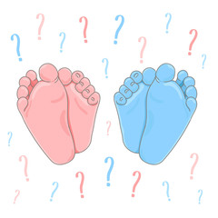 It's a boy or girl quiz announcement. Newborn foot soles colored in blue and pink, question marks on the background. Vector illustration.