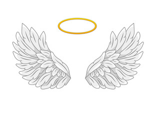 A pair of wide spread angel wings with golden halo or nimbus. Grey and white feathers. Contour drawing in modern line style with volume. Vector illustration