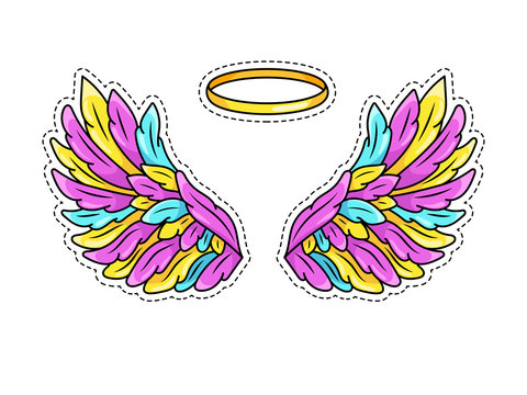 Magic wings sticker in 80s-90s youth pop art comics style. Wide spread angel wings and halo. Retro fashionable patch element inspired by old cartoons. Vector illustration isolated on white