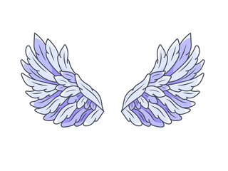 A pair of angel wings with blue and violet feathers, wide spread. Contour drawing in modern line style with volume. Vector illustration