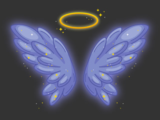 A pair of wide spread angel wings with golden halo or nimbus.Violet feathers with sparkling stars and glowing effect.Magic fantasy concept.Vector illustration