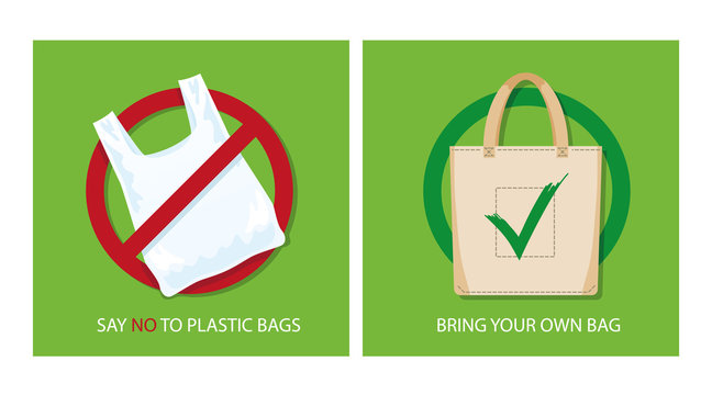 Pollution problem concept. Say no to plastic bags, bring your own textile bag. Cartoon styled images with signage calling for stop using disposable polythene package. Vector illustration.