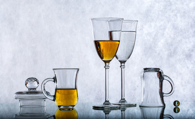 glass objects with reflection