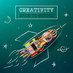 Creativity Concept - Rocket With Supplies - Back To School
