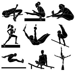 Athletes in competitions, girls, sport, vector. Lifestile, fitness, gym, logo