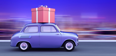 car carrying a gift 3d render 3d illustration