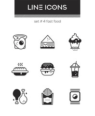 Fast food - set of line design style icons