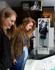 Kurt Cobain's daughter Frances Bean Cobain (R) and his sister Kim Cobain attend the opening of 'Growing Up Kurt' exhibition featuring personal items of Nirvana frontman Kurt Cobain at the museum of Style Icons in Newbridge