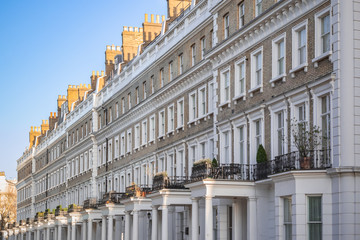 Terrace houses around Chelsea in London