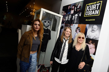 Kurt Cobain's daughter Frances Bean Cobain, his sister Kim Cobain and mother Wendy O'Connor attend he opening of 'Growing Up Kurt' exhibition featuring personal items of Nirvana frontman Kurt Cobain at the museum of Style Icons in Newbridge