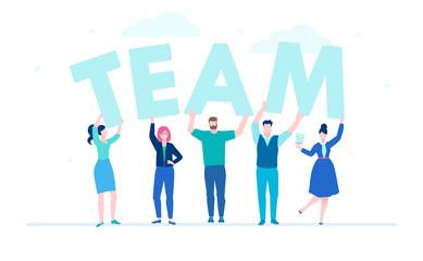 Creative team - flat design style colorful illustration