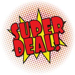 super deal comic explosion retro design deal tag