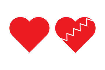Red heart shape vector on white background