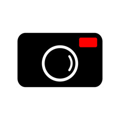 Camera icon vector on white background.