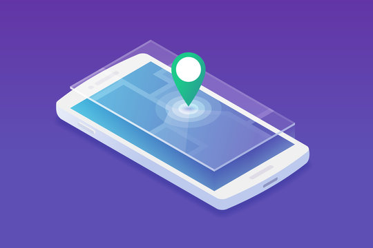 Isometric smartphone with location marker showing place on separate city map layer vector illustration