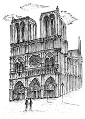 France. Paris. Drawing with a pen and black ink of the ancient Cathedral of Notre Dame. City sketch.
