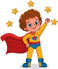 Vector illustration of superhero boy standing with a superhero pose. Isolated cartoon.