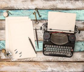 Vintage typewriter grungy paper sheet Antique office accessories