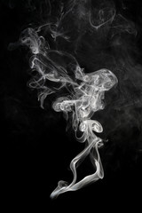 Abstract beautiful art. White smoke on a black background.