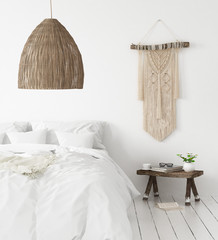 Bedroom, Scandi-boho style, 3d render