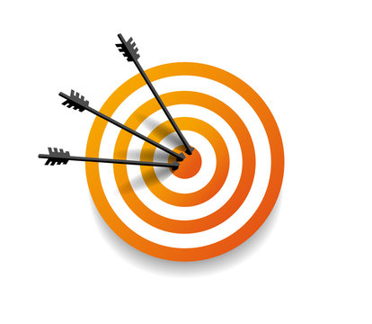 Target with three arrow in center. Arrows hit the target. Business concept. Vector illustration Eps10 file