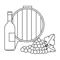 wine barrel with grapes cluster and bottle