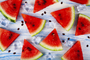 Pieces of watermelon and ice