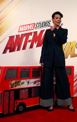 Actor Evangeline Lily poses for photos at the launch of the new Marvel Studios film 'Ant Man and The Wasp' in central London