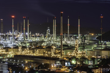 Petrochemical Industrial. Oil refinery and Oil industry at night