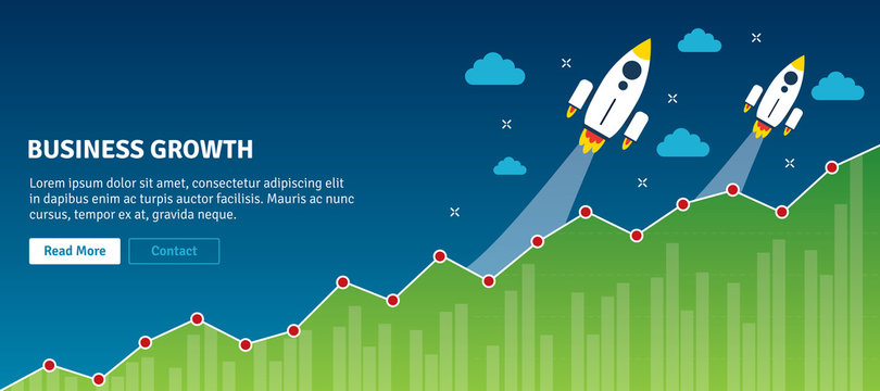 Rocket flying on chart of growth. Concept of successful, business growth, business planning and success, increase in sales, analysis and investment. Flat design web banners in vector illustration.