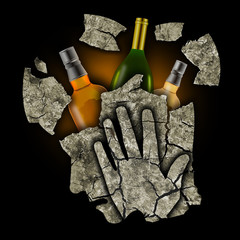 Depressed man addicted to alcohol.  Stylized male head silhouette holding his head.Photo-montage with Dry cracked earth and bottles of alcohol. Addiction and alcoholism concept.