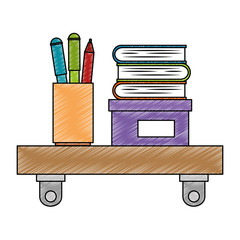 shelf with pencil holders and books