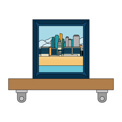 shelf with portrait icon vector illustration design