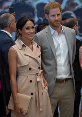 Britain's Prince Harry and Meghan, the Duchess of Sussex, visit the Nelson Mandela Centenary Exhibition at Southbank Centre's Queen Elizabeth Hall in London