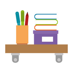 shelf with pencil holders and books vector illustration design