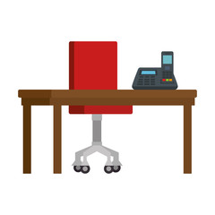 office workplace with telephone scene vector illustration design