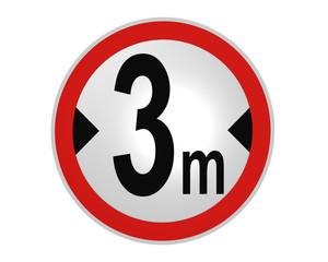 deutsches Verkehrsschild: tatsächliche Breite, 3 m von vorne. 2d render