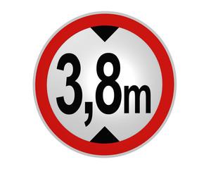deutsches Verkehrsschild: tatsächliche Höhe, 3,8m von vorne. 2d render