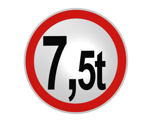 deutsches Verkehrsschild: tatsächliche Masse, 7.5t von vorne. 2d render