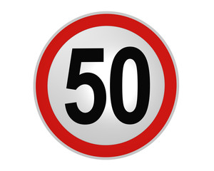 Deutsches Verkehrszeichen: Geschwindigkeitsbegrenzung 50 km/h, vorderansicht, 2d render