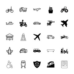 Collection of 25 transportation filled and outline icons