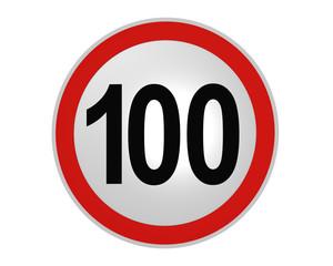 Deutsches Verkehrszeichen: Geschwindigkeitsbegrenzung 100 km/h, vorderansicht, 2d render