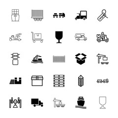 Collection of 25 shipping filled and outline icons