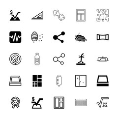 Collection of 25 square filled and outline icons