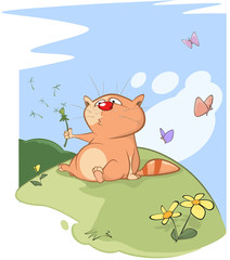 Illustration of a Cute Cat. Cartoon Character